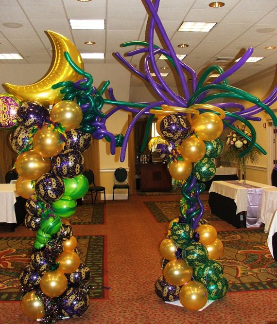Balloon columns will be made with black silver and purple