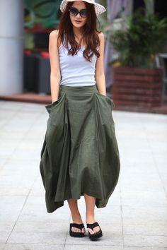 Lagenlook Maxi Skirt Big Pockets Big Sweep Long Skirt in Army Green Summer Linen Skirt - NC334. $64.99, via Etsy.
