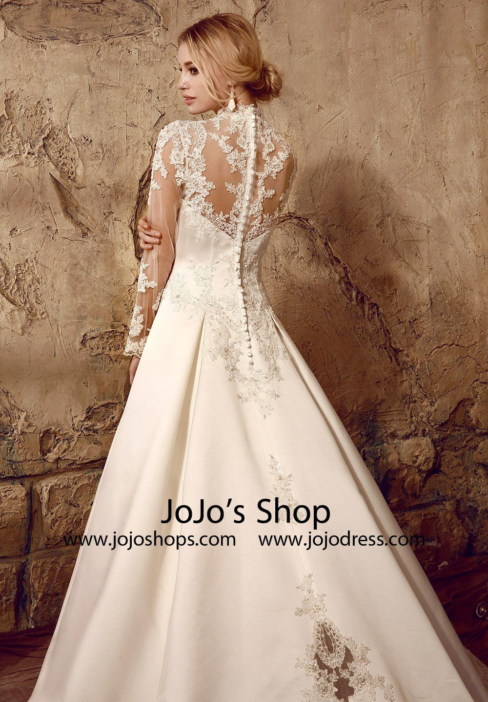 Ball gowns wedding dresses  Long Sleeves Victorian Style Modest Lace Wedding Dress  Itus All
