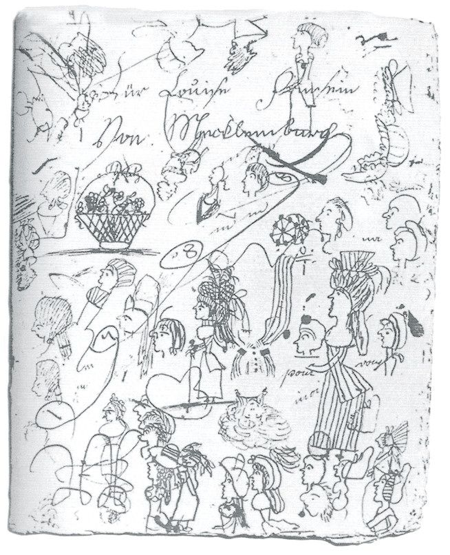 The doodling of Louise of Mecklenburg-Strelitz, wife of Frederick Wilhelm of Prussia, from her exercise book from 1789.