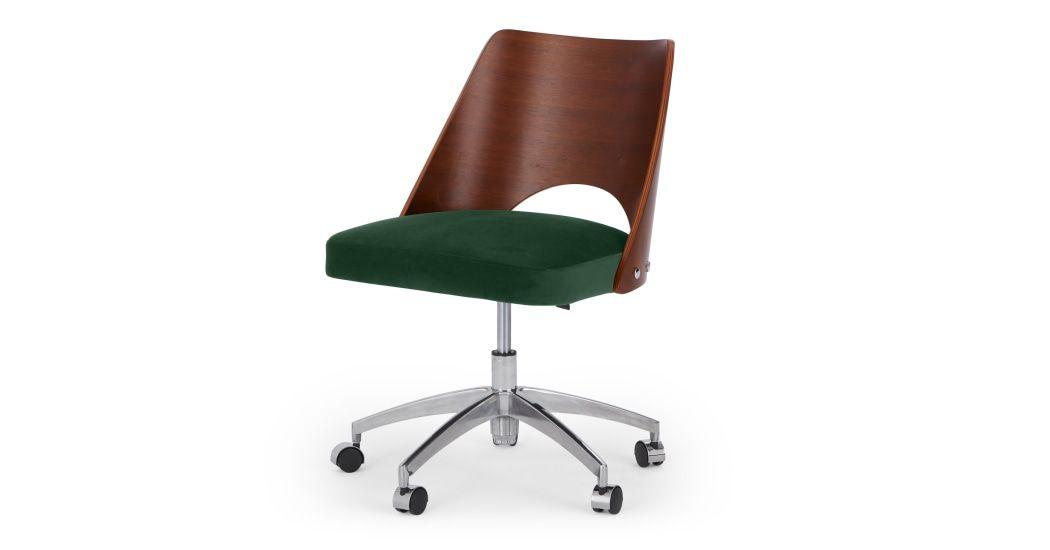 Hailey Swivel Office Chair Walnut And Pine Green Velvet Bureau Pivotant Chaise Bureau Chaise