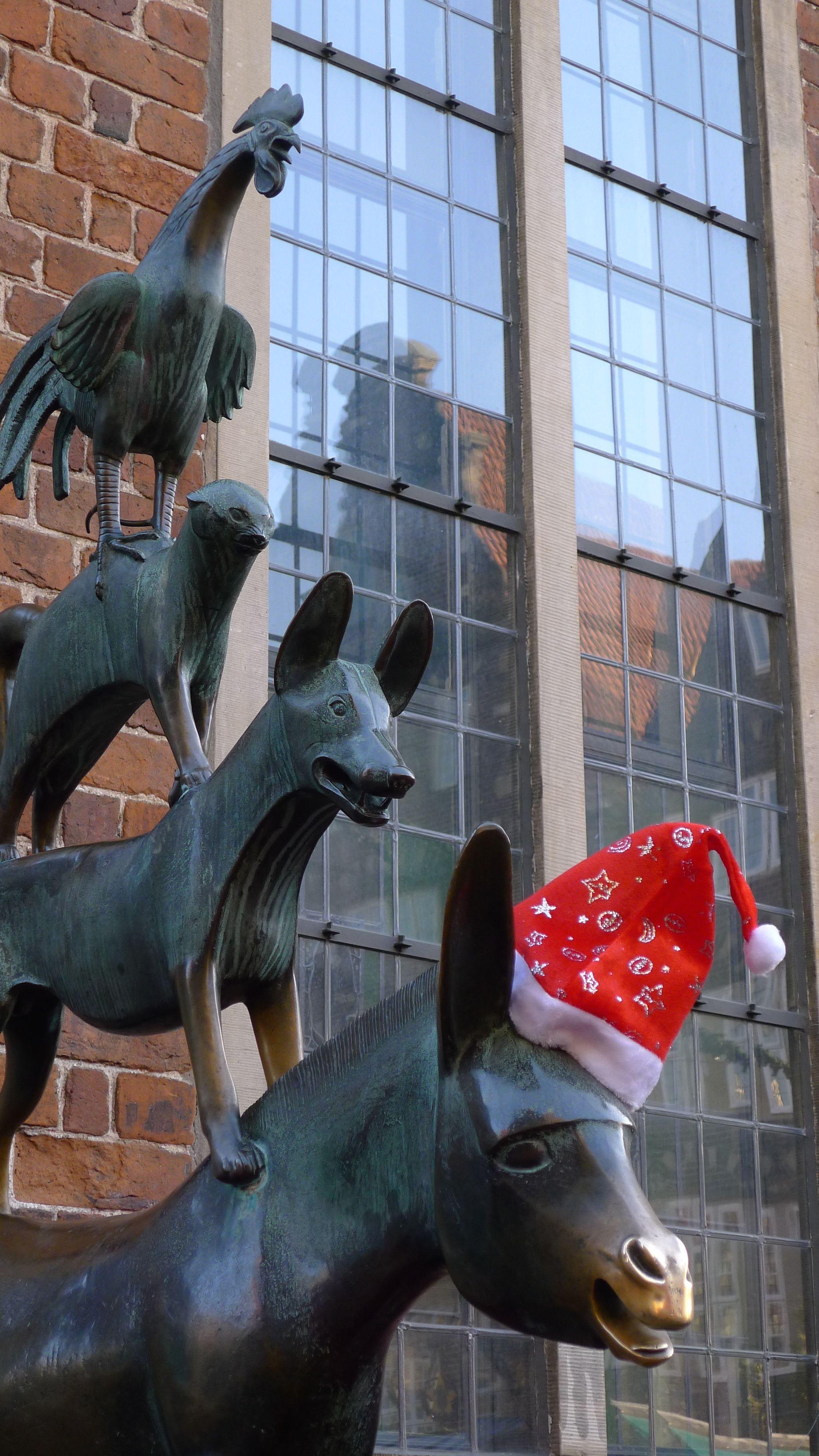 bremer stadtmusikanten in weihnachtstimmung bremen