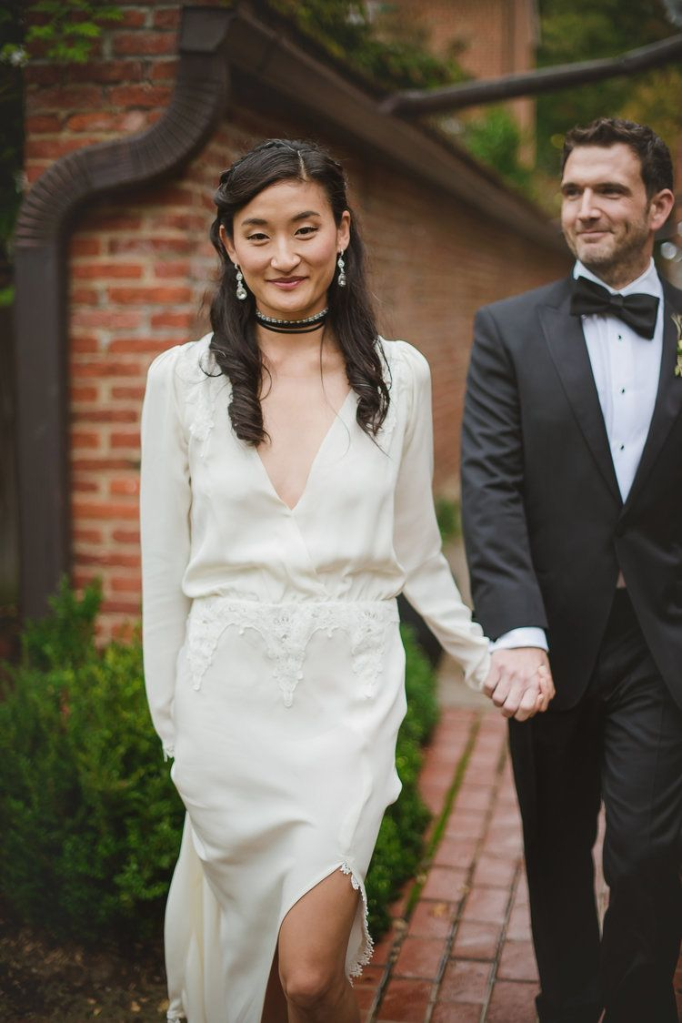 Legg mason tower wedding in baltimore maryland wedding planners open back long sleeved silk wedding dress from stone cold fox with black choker bride baltimore ombrellifo Choice Image