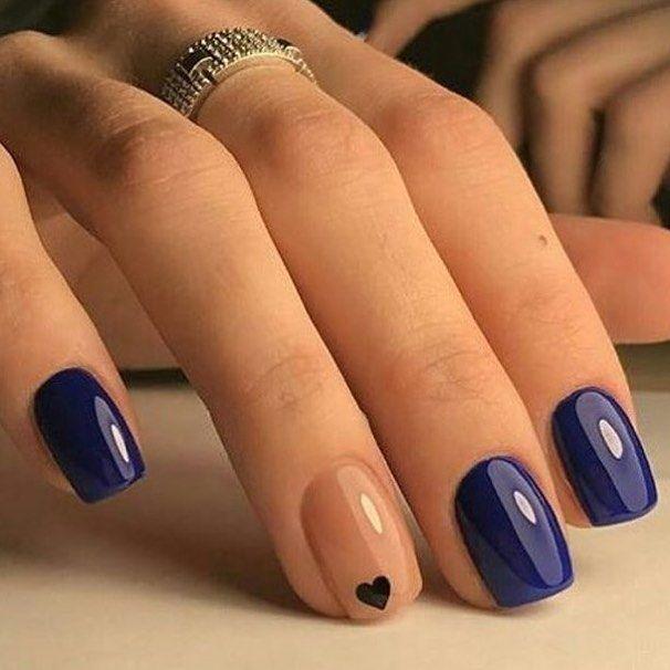 Unha azul com coração   Bee-You-Te-Full!!!!   Pinterest   Manicure ...