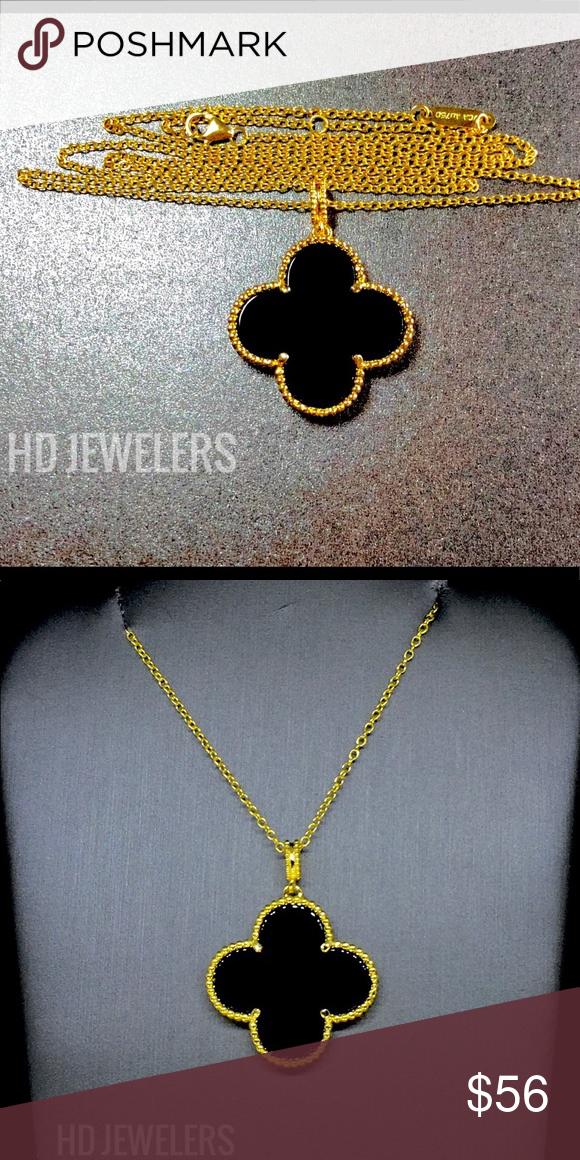 1cd0dca2962bc Black Onyx Pendant 18K Gold Clover Women Necklace Luxury Motif ...