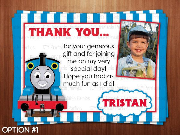 Printable Diy Blue And Red Thomas The Train Theme Personalized Thank