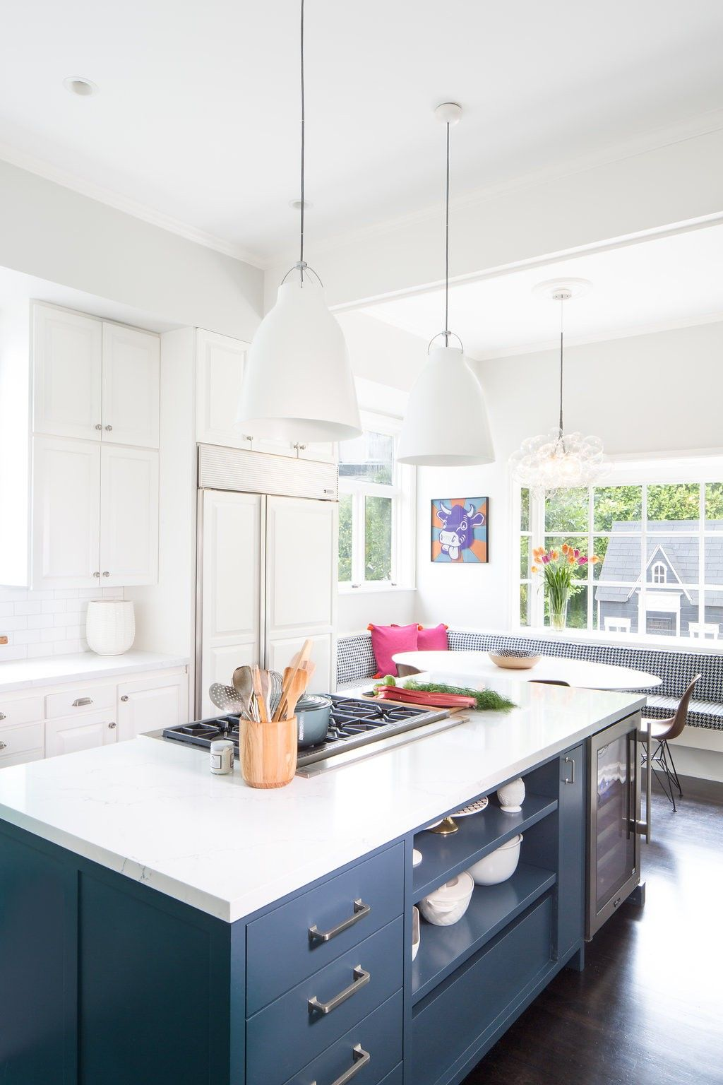 Modern Lighting And A Gorgeous Navy Blue Island At The Laurelhurst Kitchen  By Distinctive Kitchens.