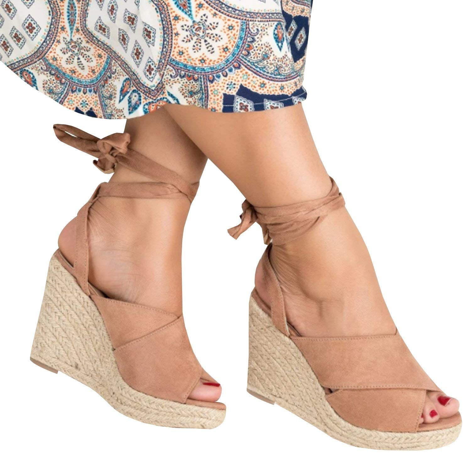 c6604f05a7f LAICIGO Womens Espadrilles Wedge Sandals Lace up Ankle Strap Front Wrap Peep  Toe Strappy Platform Cute Shoes -- Wonderful of you to drop by to visit our  ...