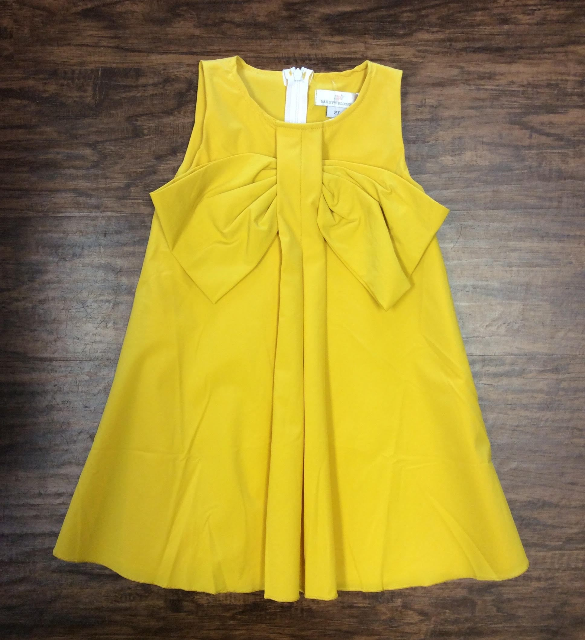d90abceb3 Big Bow Mustard Dress by Baileys Blossom
