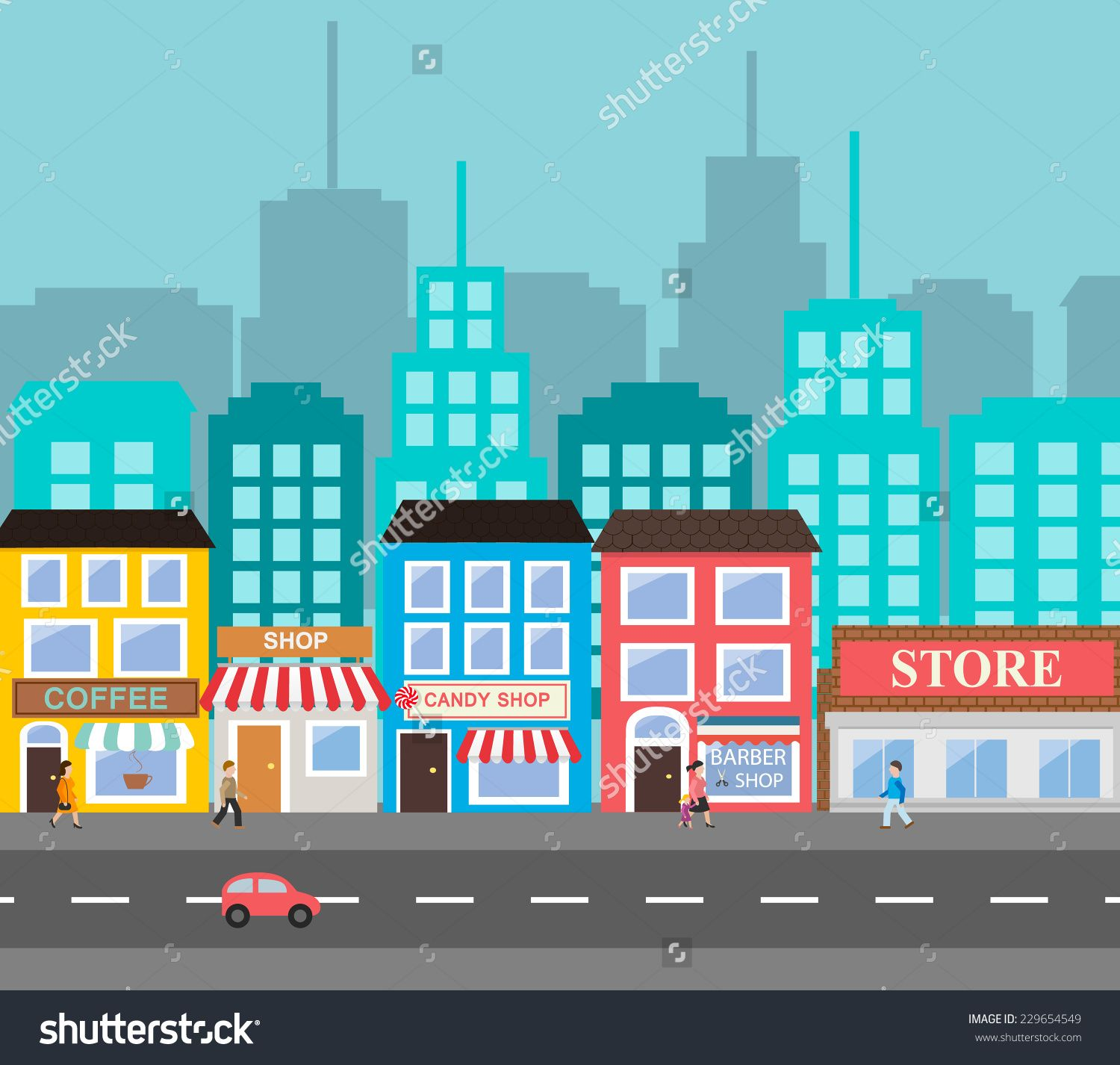 Small Town Urban Landscape In Flat Design Style Vector Illustration Includes Small Business Build Train Illustration Building Illustration Web Layout Design