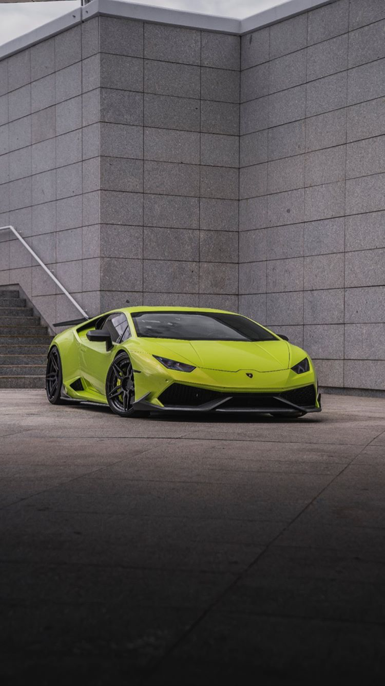 Lime green Huracan iPhone wallpaper from