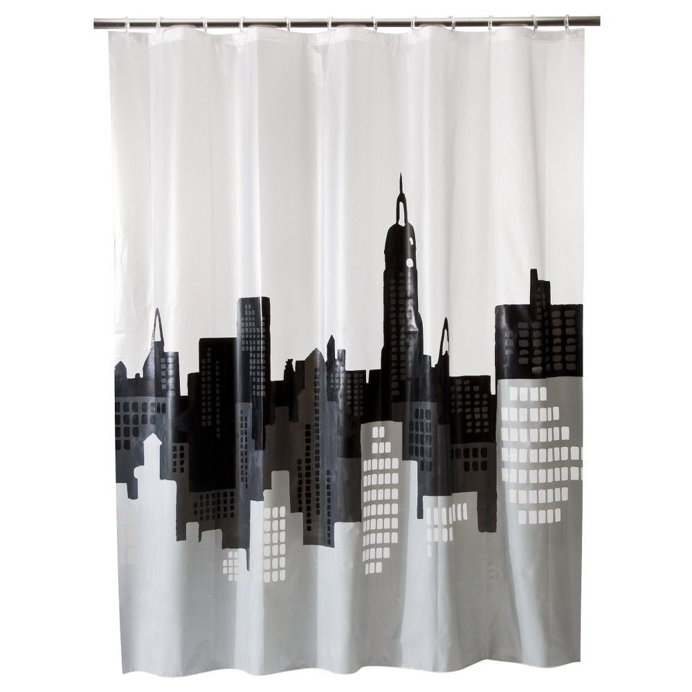 City Scape Shower Curtain - Room Essentials, Gray/White | Products