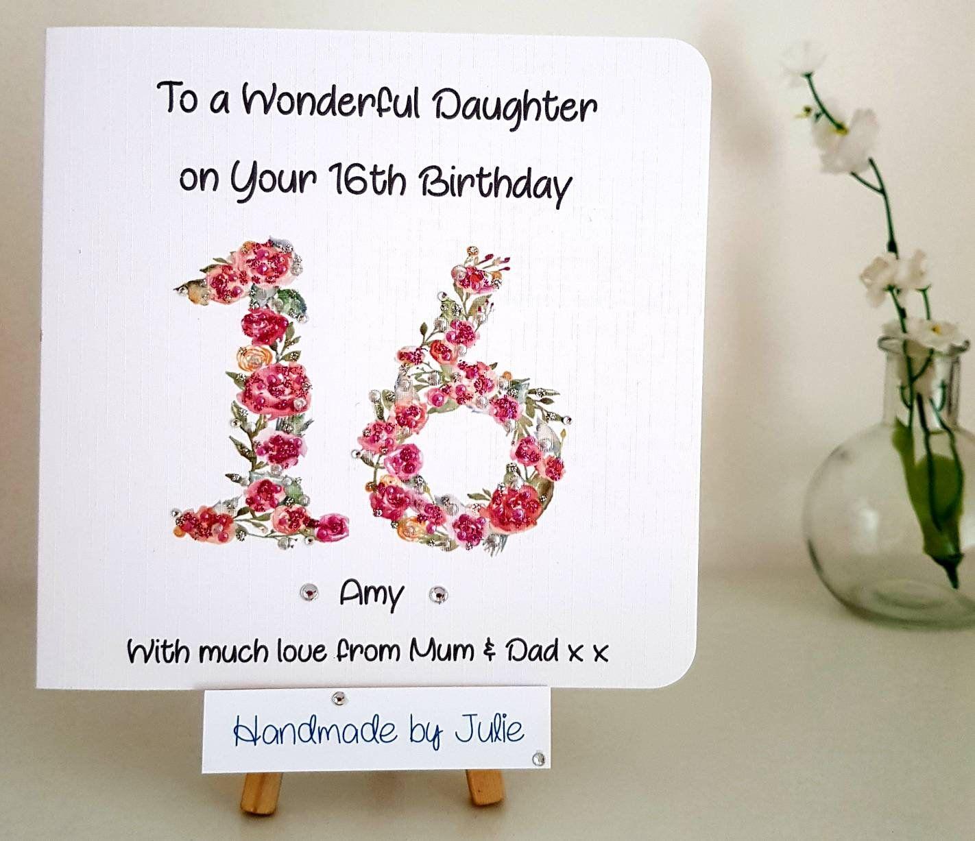 13th Birthday Card For Etsy 16th Birthday Card 16th Birthday Wishes Handmade Birthday Cards