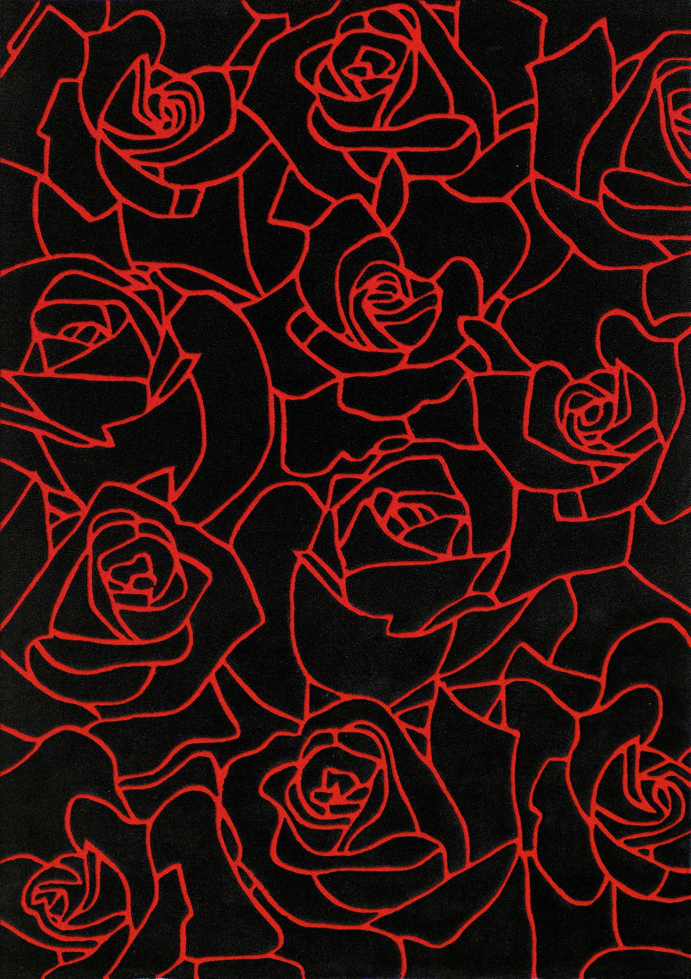 Mystique Black/Red Roses Area Rug (With images) Red and