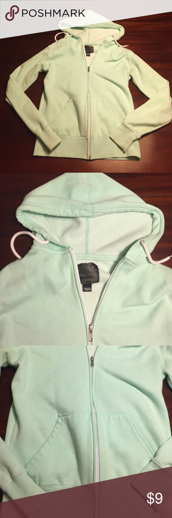 Mint green zip up hoodie mint green zip up hoodie purchased from Zumiez, very comfortable, some discoloration from normal wear, no holes, I LOVE OFFERS Full Tilt Jackets & Coats