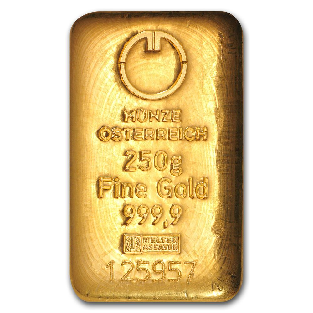 250 Gram Gold Bar Austrian Mint Cast Sku 78385 Ebay Gold Bullion Coins Gold Bullion Bars Gold Bars For Sale