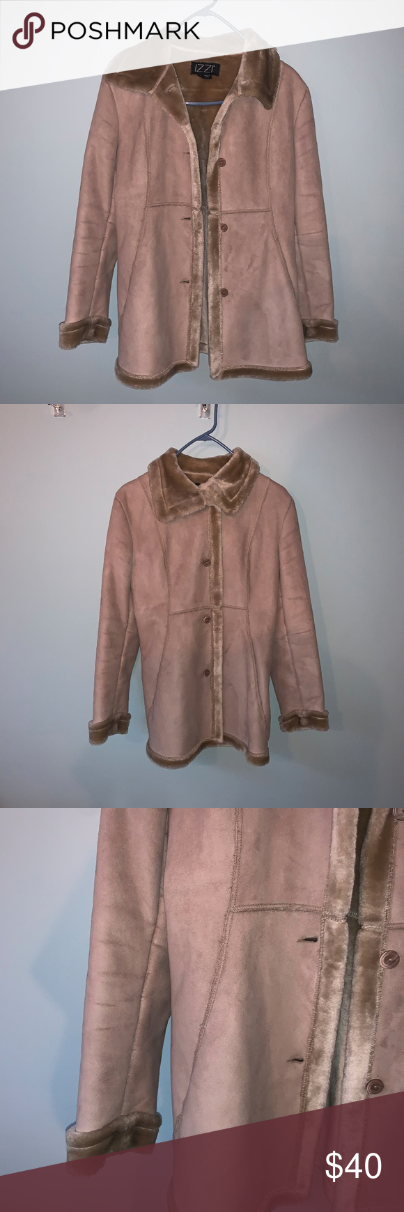 Izzi Small Suede Jacket W Plush Faux Fur Lining Suede Jacket Beige Jacket Jackets [ 1740 x 580 Pixel ]