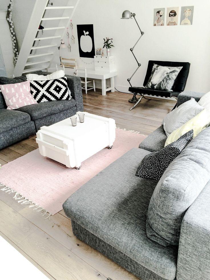 Tolle Inspiration für skandinavischen Style im Wohnzimmer! #design - wohnzimmer ideen grau rosa