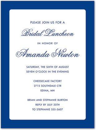 Business Invitations Formal Blue Border White   Class