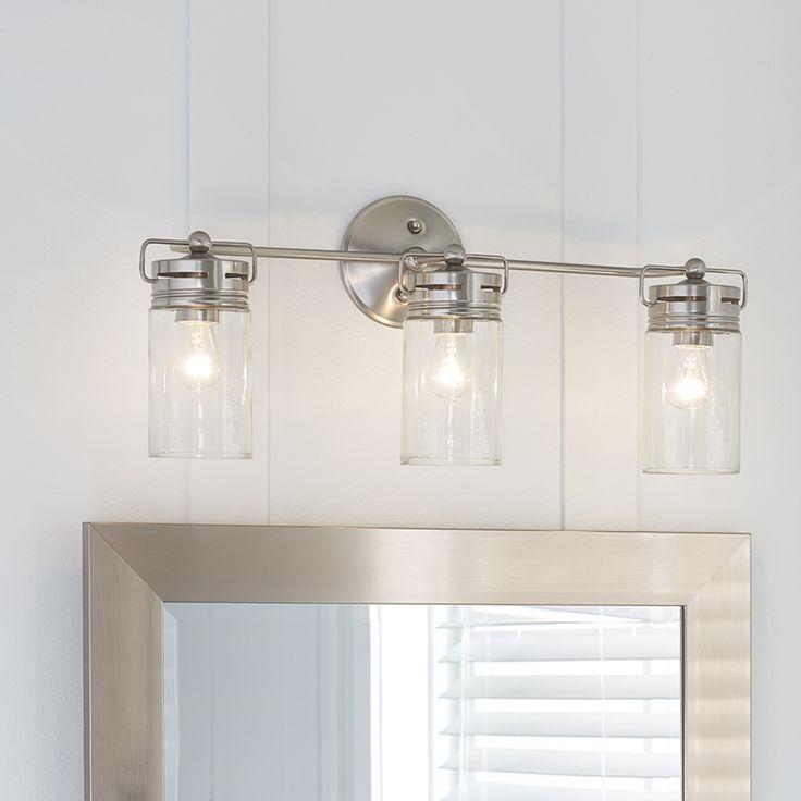 Allen Roth 3 Light Vallymede Brushed Nickel Bathroom Vanity Light Item 759828 Model B10 Bathroom Light Fixtures Farmhouse Vanity Lights Bathroom Fixtures