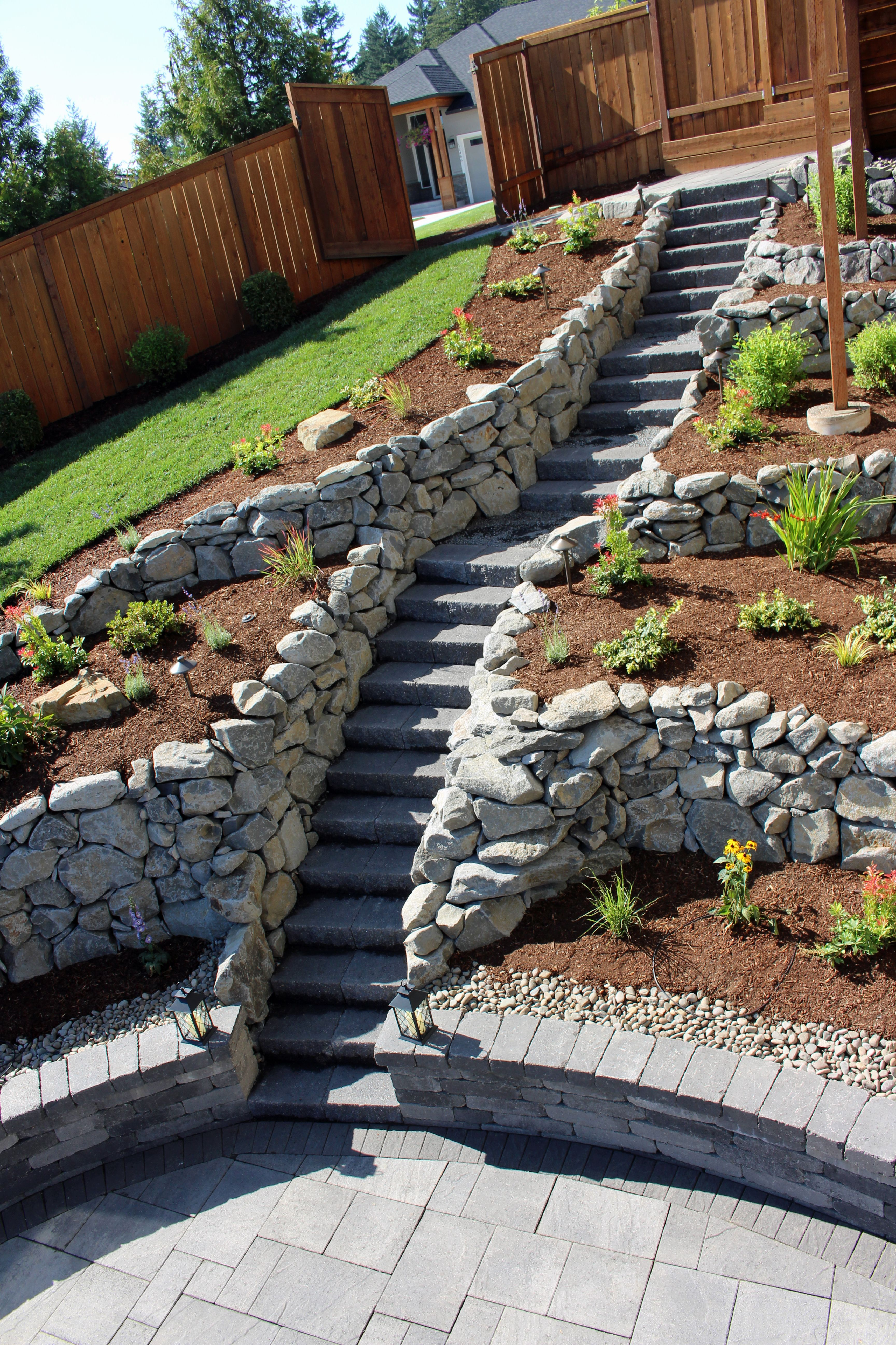 Stone Block Steps For A Steep Location Sloped Garden Small