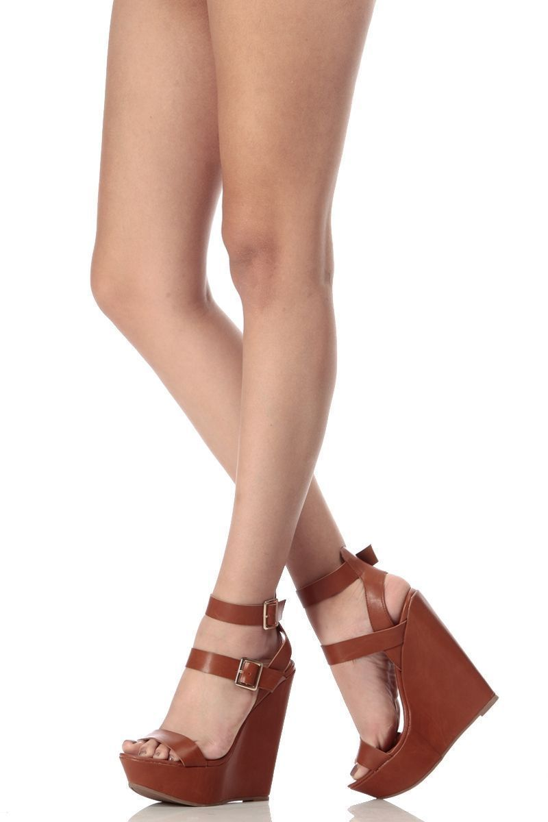 8ff5ee2326c Tan Faux Leather Double Ankle Strap Wedges   Cicihot Wedges Shoes Store Wedge  Shoes