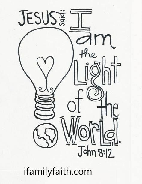 jesus is the light of the world amen ifamilyfaithcom bible coloring pagescoloring