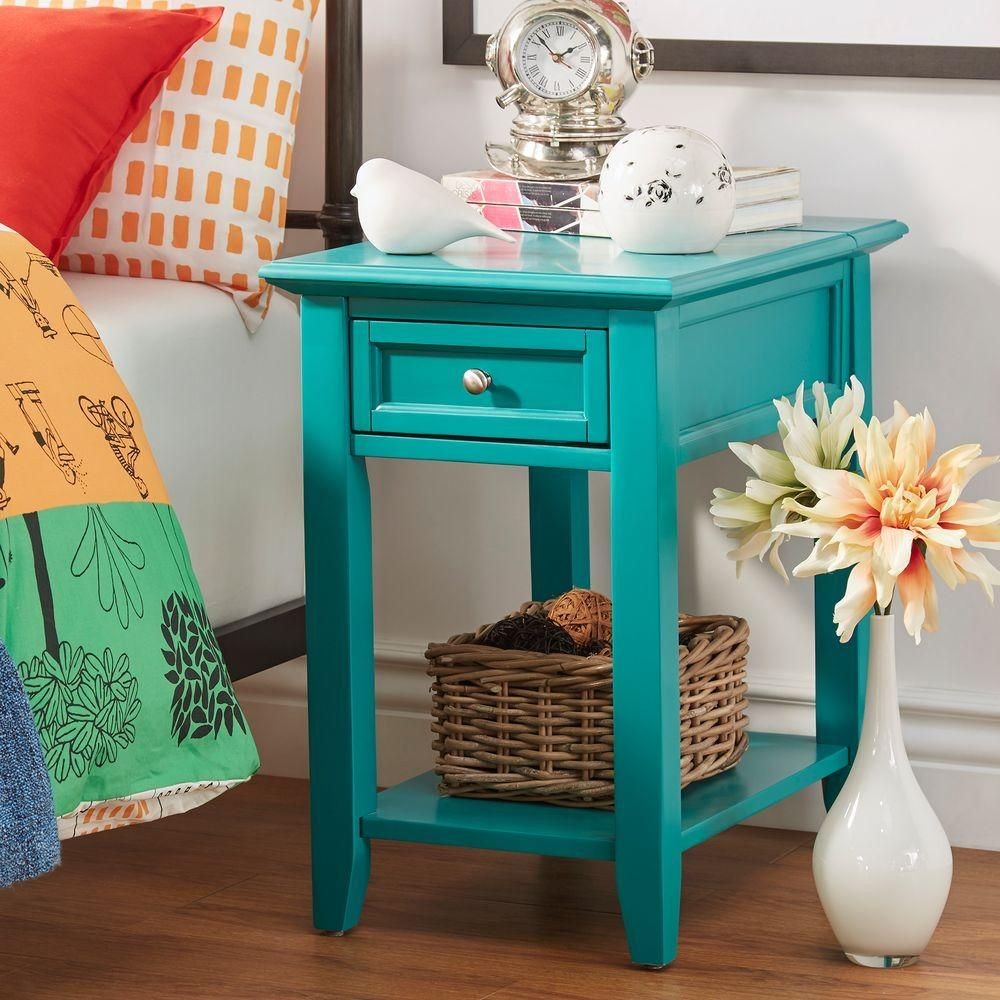 Homesullivan Harrison Marine Green Side Table Blue Side Table