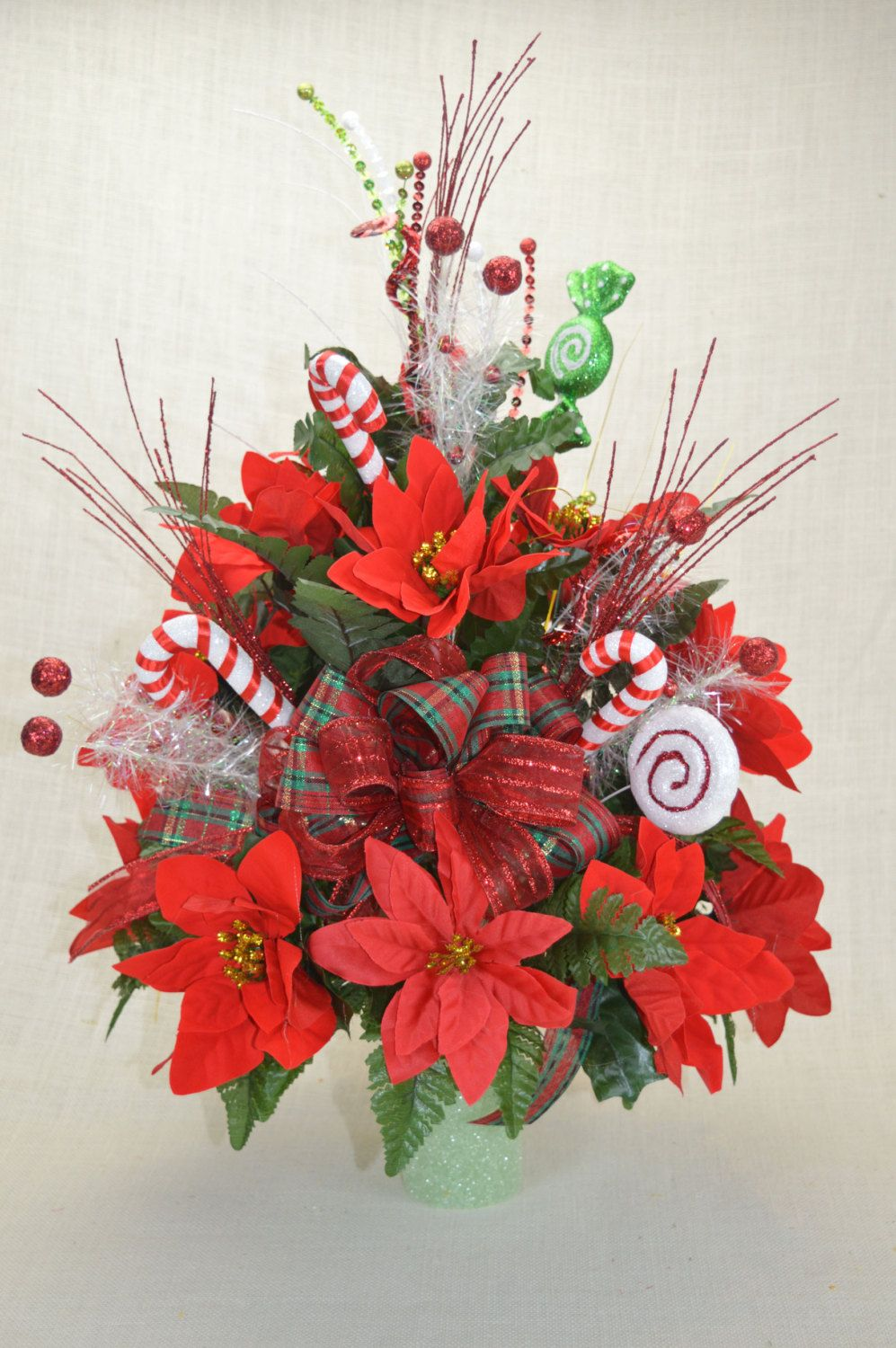 No011 Holiday Christmas Silk Flower Cemetery Cone Vase