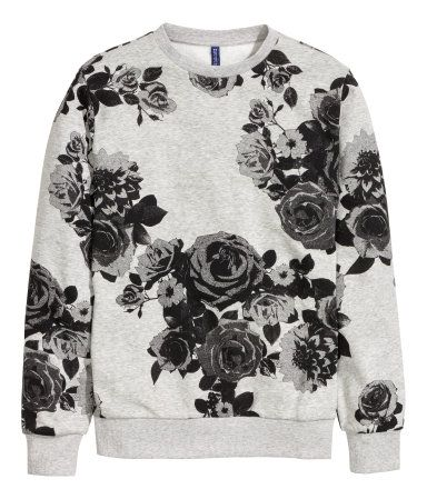 7c0650a5f Graphic floral print sweatshirt in a soft grey melange cotton. | H&M For Men