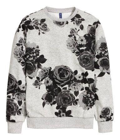 Graphic floral print sweatshirt in a soft grey melange cotton. | H&M For Men
