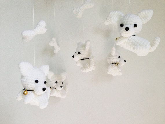 White Puppy with tiny bell Amigurumi Baby Mobile by IvoryTreeHouse