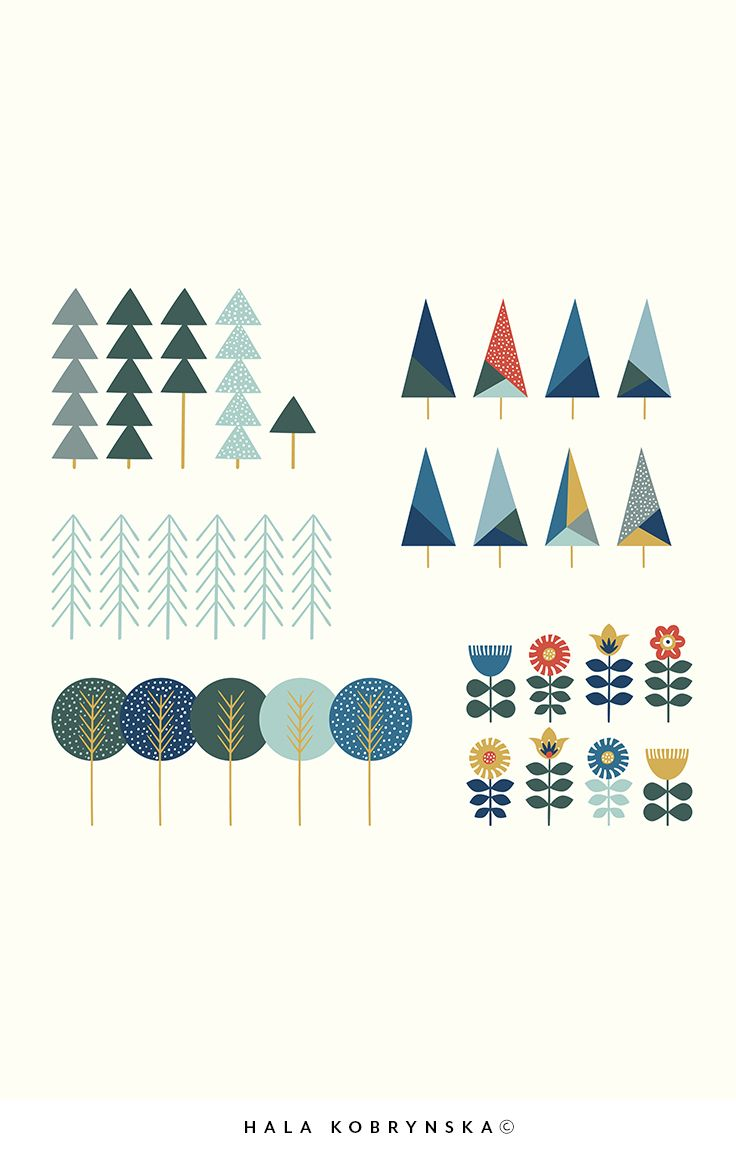 Hand draw elements with scandinavian trees and flowers in pastel colors. Cute scandinavian tree