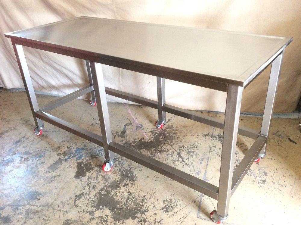 Work Table Stainless Steel Rolling Industrial Kitchen Island X - Industrial kitchen table stainless steel