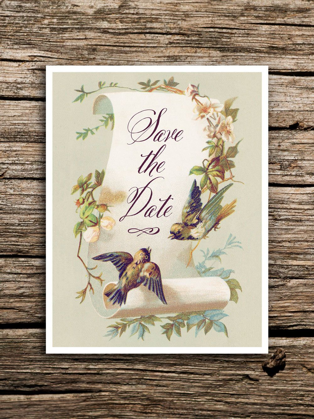 Vintage Birds Save the Date Cards // Bird Themed Wedding Invitations ...