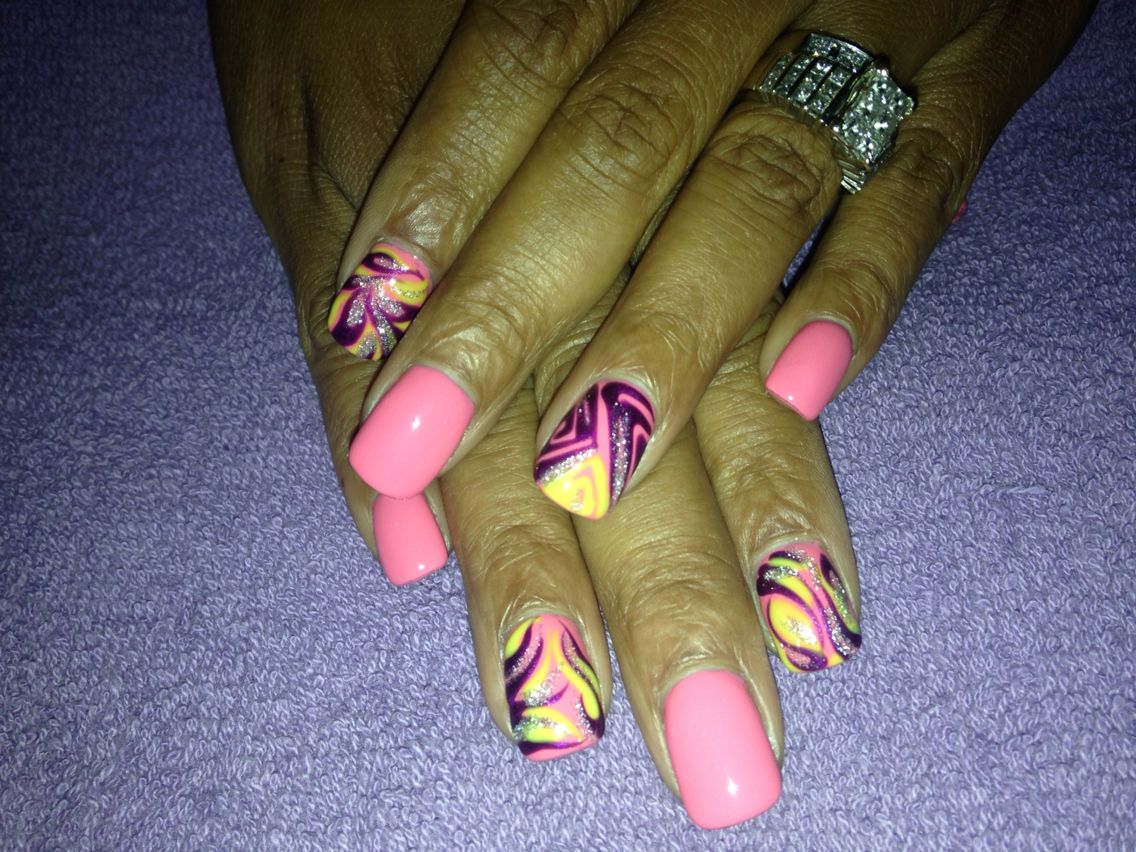 Acrylic with gel polish done by Pampered Soles!