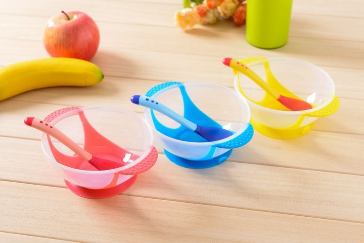 3Pcs/set Baby Learning Dishes With Suction Cup Assist Food Bowl Temperature Sensing Spoon Baby Strong Suction Table Bowl