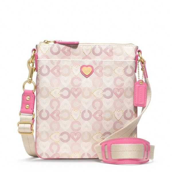 Coach Waverly Coated Canvas Hearts Swingpack ($138) Liked