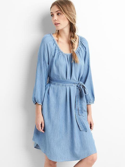 75c0d8f1d71 Gap Womens Tencel™ Scoop Neck Dress Medium Indigo