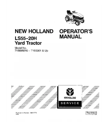 New Holland Ford Ls55 20h Yard Tractor Operator S Manual Yard
