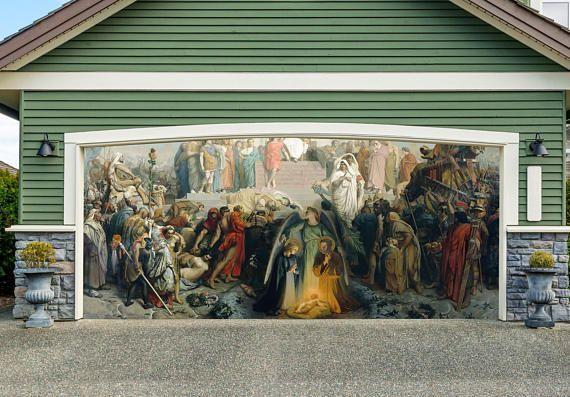 Nativity Scene Garage Door Cover Christmas Outdoor Decor