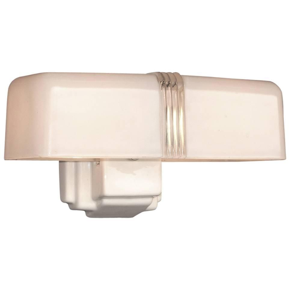 4 Available 1930s Two Bulb White Porcelain Bathroom Fixture