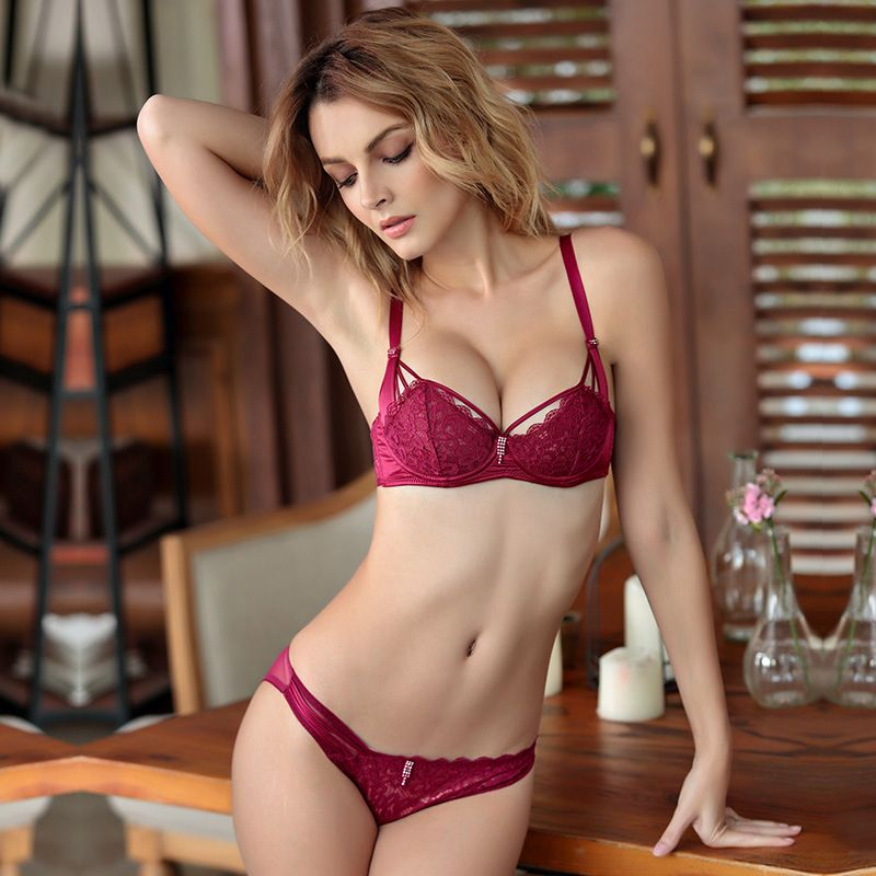 2cd3003e22 2017 Best Seller Push Up Sexy Lace 1 2 Cup Bra Set Underwire Unlined Back  Closure Two Hook-and-eye Free Shipping