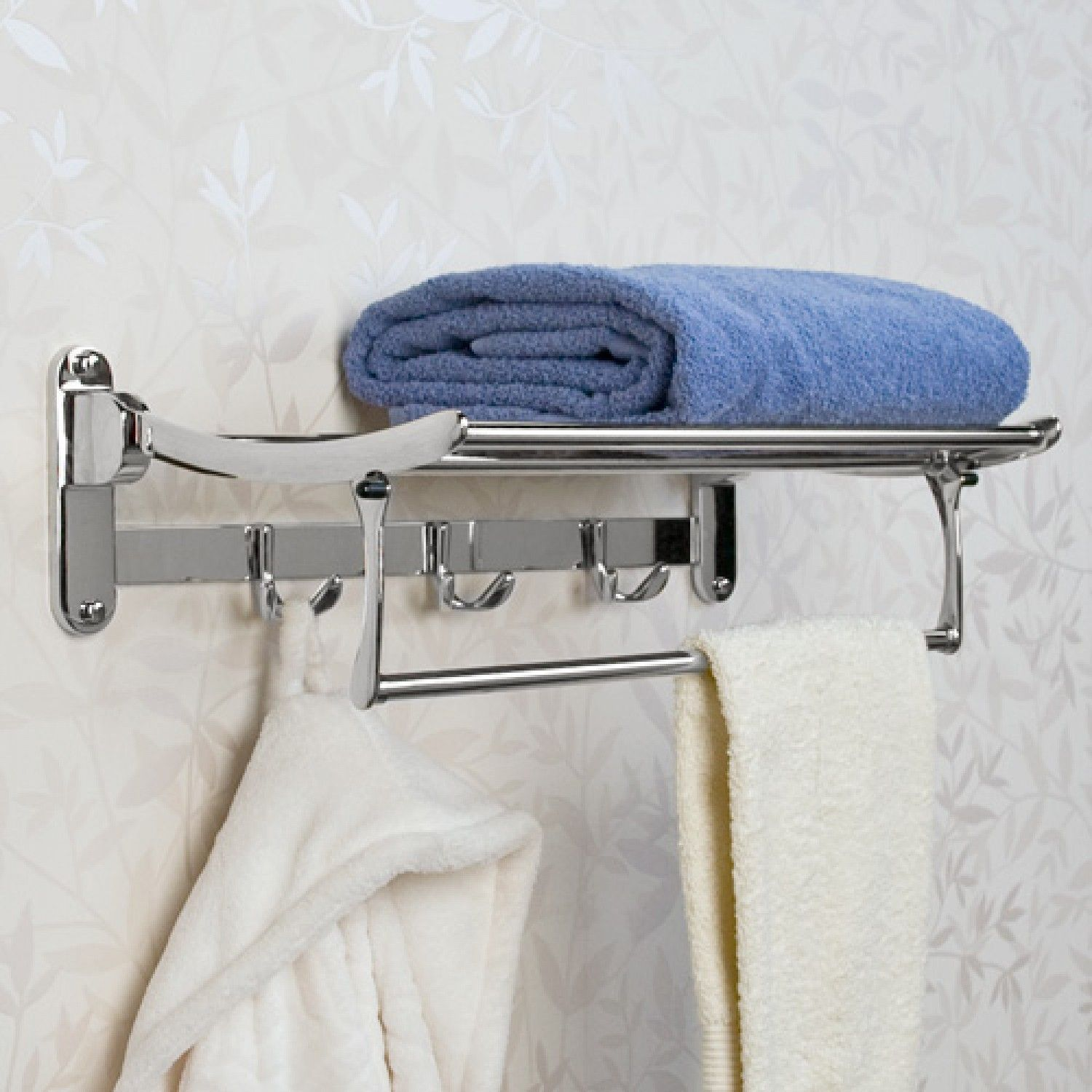 Solid Brass Folding Towel Rack With Bar Towel Holders Bathroom