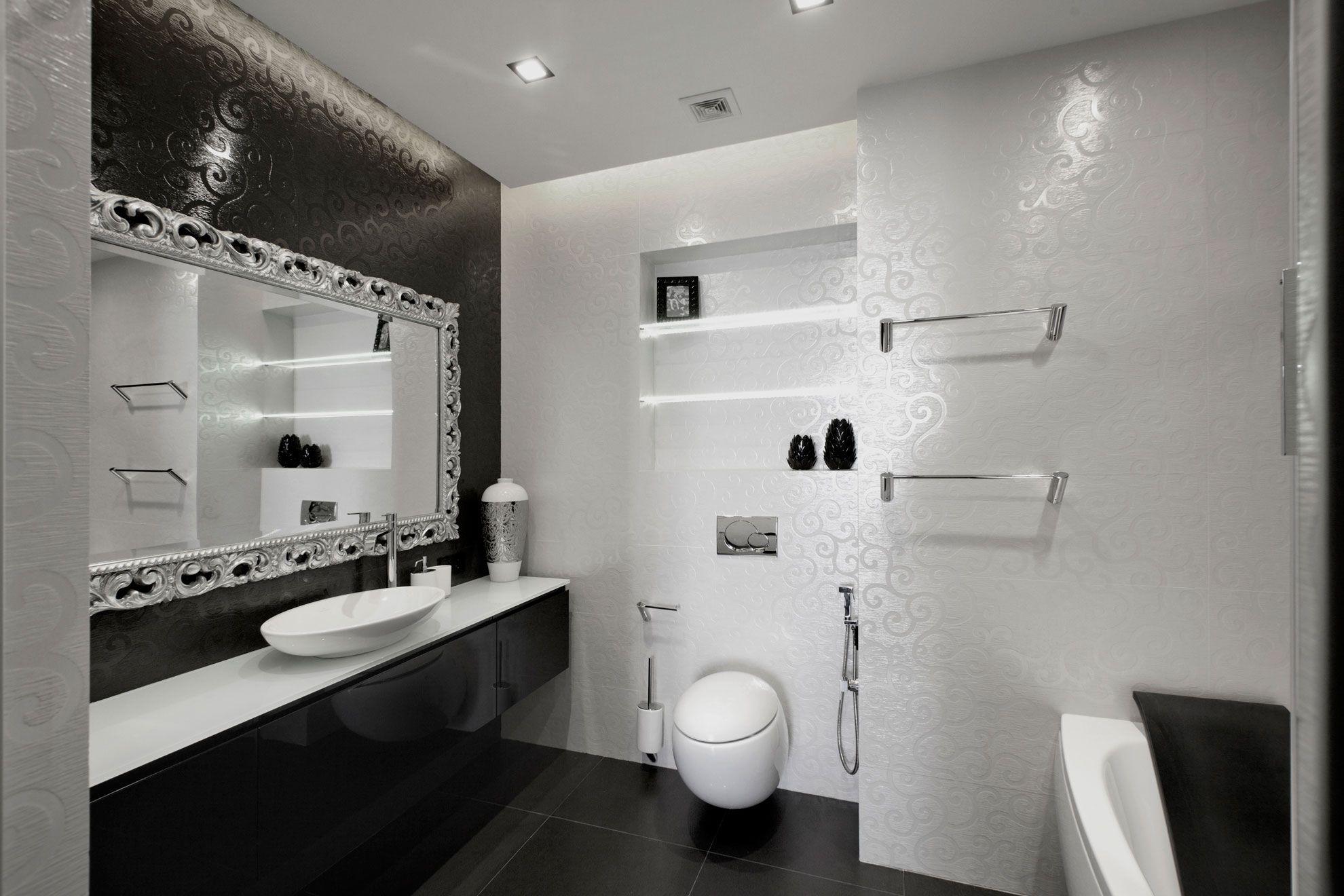 Black And White Bathroom Design Ideas Interior Stylish Black And White Interior Design For Black And White Bathroom Floor White Bathroom Decor Bathroom Design