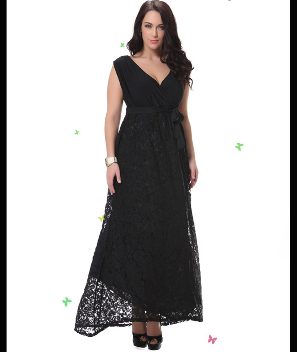 31cead52974fa Summer Women Plus Size Maxi Dress Vintage V Neck Big Sized 6xl 7xl 8xl Lace  Patchwork Long Black Dress Robe Ete Robe Dentelle