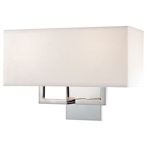 George Kovacs Chrome TwoLight Wall Sconce With OffWhite Linen - Two light bathroom sconce