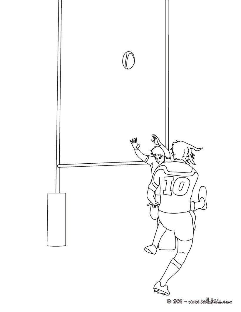 Color This Rugby Drop Kick Coloring Page More Sports Coloring Pages On Hellokids Com Sports Coloring Pages Rugby Drawing Coloring Pages