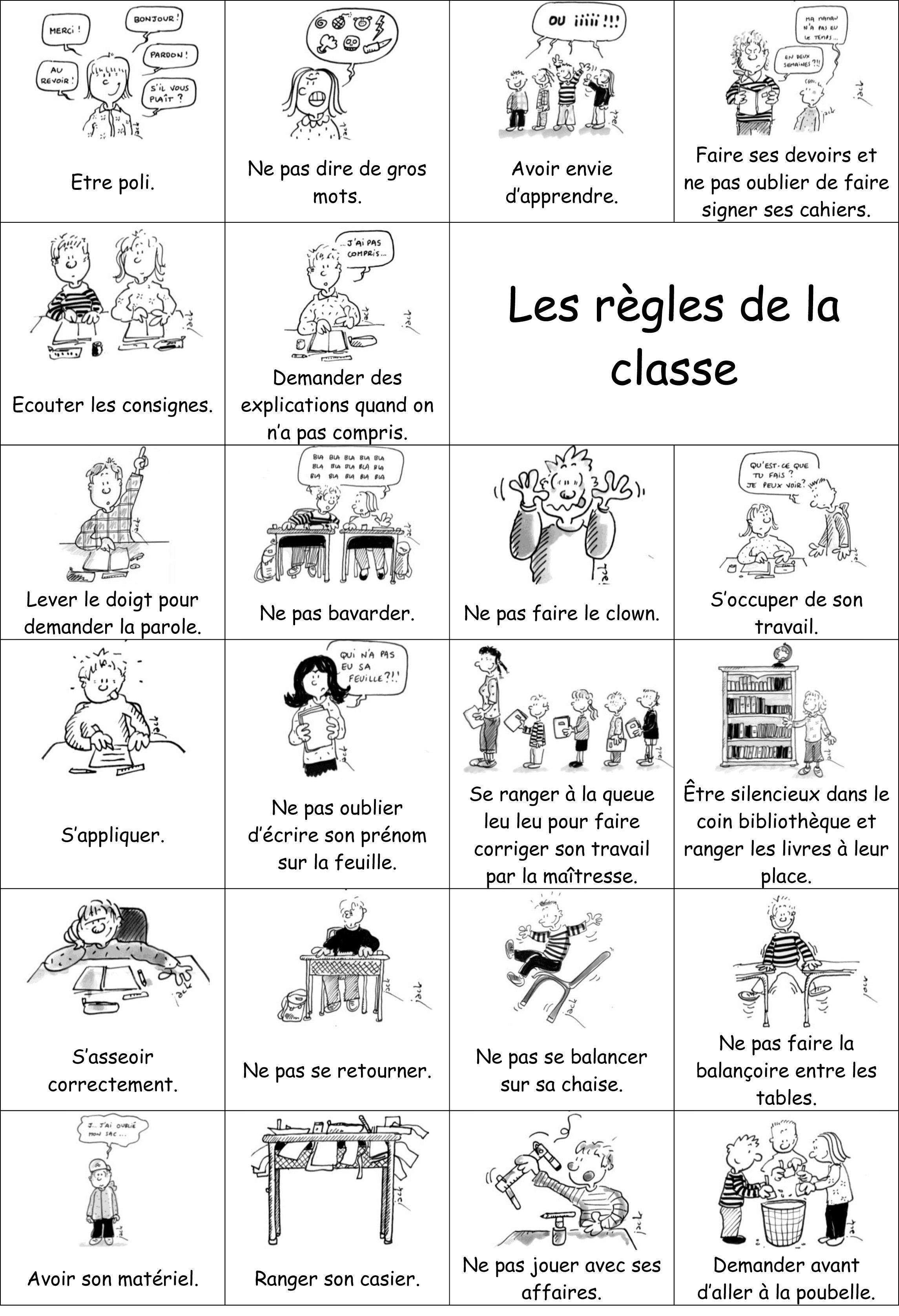 Les r gles de la classe learning mania pinterest - Image classe maternelle ...