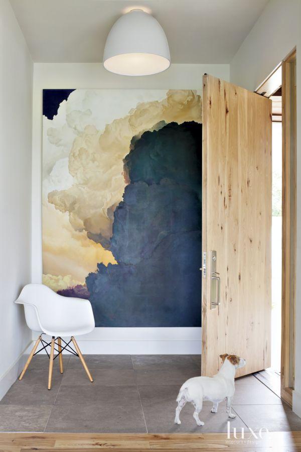 35 Foyers with Statement Art Pieces Cuadro, Casas azules y Loft